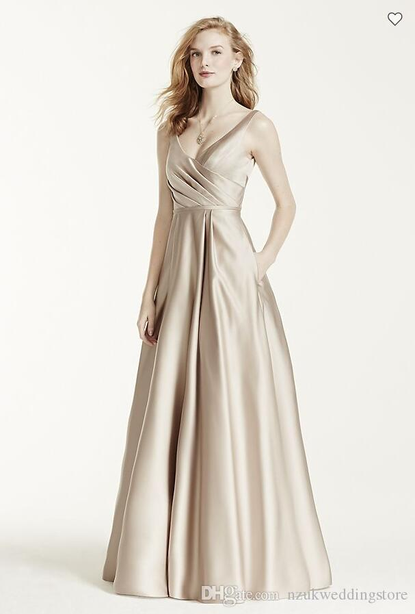 Vintage 2016 Designer Occasion Satin Tank Long Ball Gown Ruched bodice v-neckline Style F15741 Bridesmaid Dresses