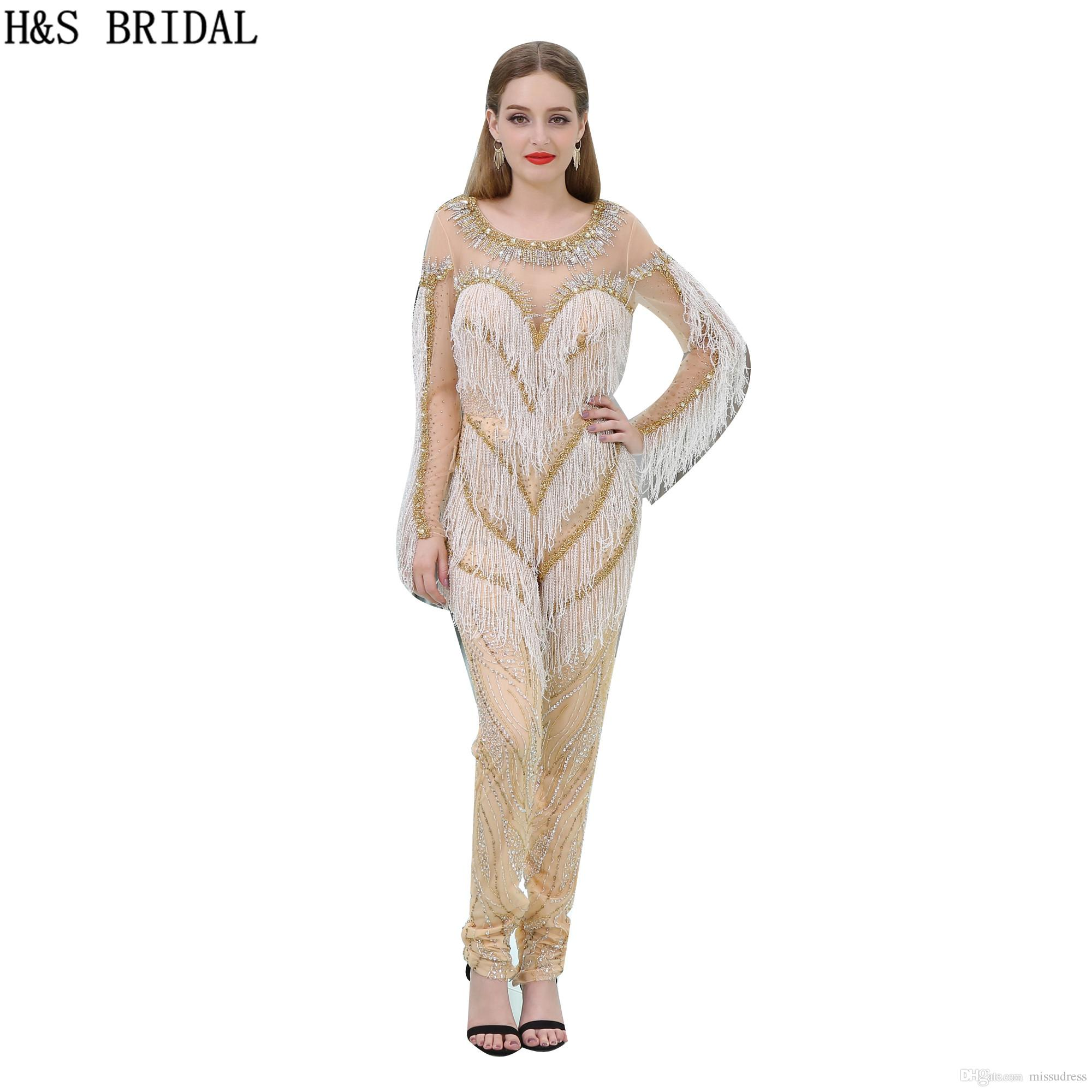 Champagne Long Sleeves Evening Dresses Sexy Sheer Jumpsuit Crew ...