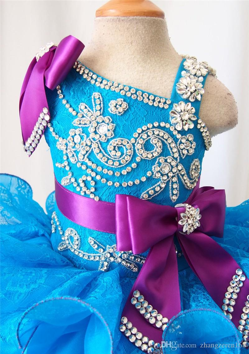 2017 Hand Made Lace Bows Beadings Shiny Flower Girl Girls Pageant Dresses Cupcake Infant Toddler Dresses Custom Made