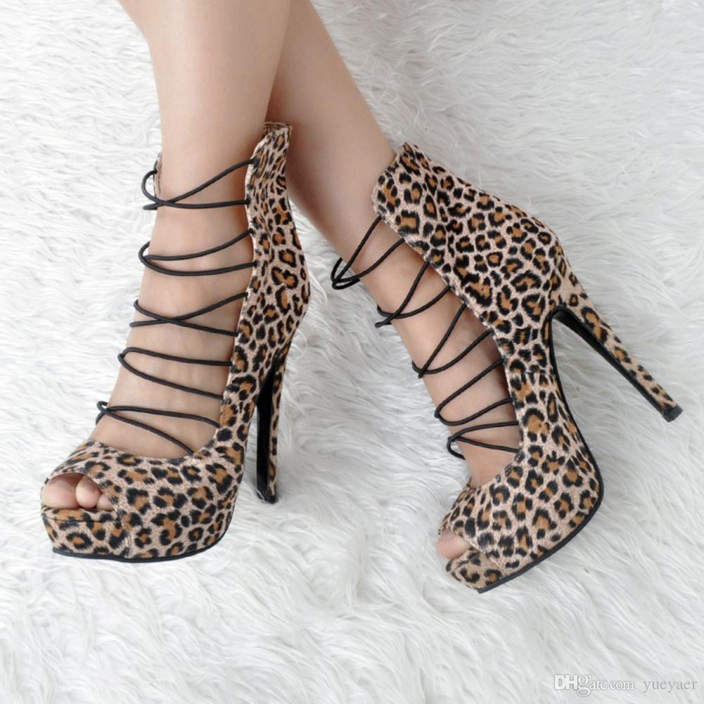 Zandina Womens Fashion Handmade 14.5cm Peep-toe Lace Bands High Top High Heel Ankle Boots Shoes Leopard XD144