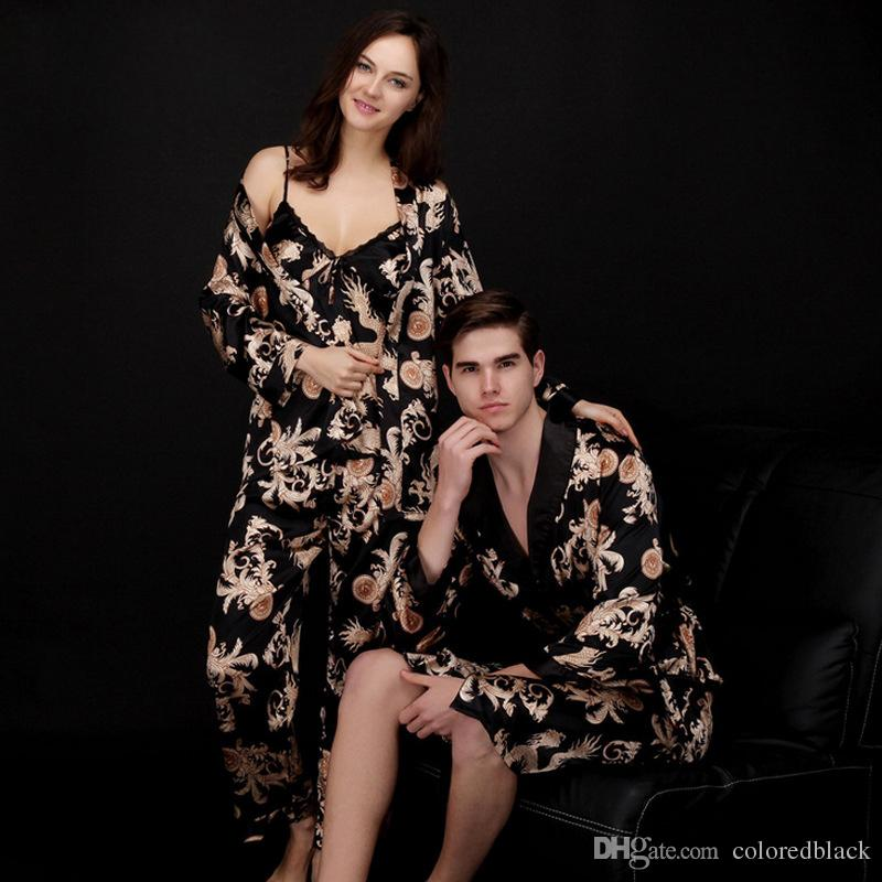 cc325ed64b6 Spring New Stylizing Lovers Sleepwear Summer Three-piece Nightgown With Print  Silk Comfortable NIghty For Lovers Fahsion And Sexy New Stylizing Lovers ...