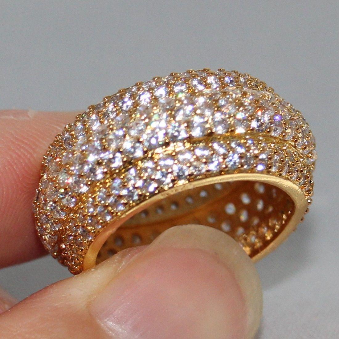Victoria Wieck bijoux de luxe paver minuscule blanc saphir 925 Sterling SilverYellow or remplis femmes mariage bague cadeau
