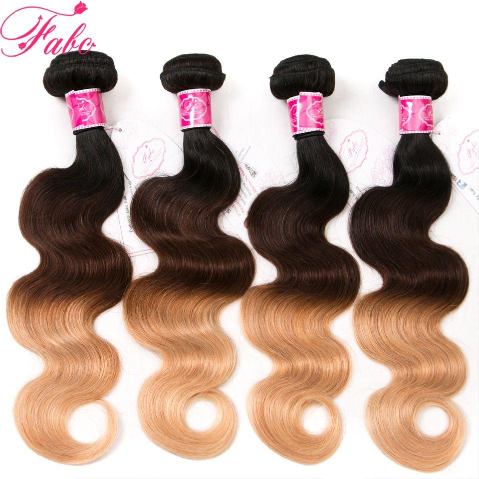 Brazilian Human Hair Weave Bundles Non Remy Hair Extensions 3 Tone Blonde Ombre Body Wave #1B/4/27 human hair bundles with closure