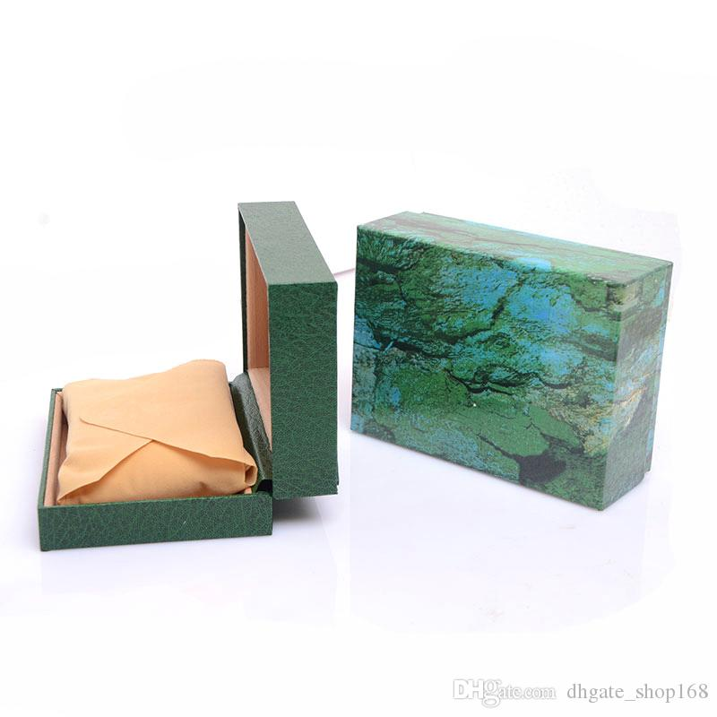 Drop shipping Luxury Mens For Watch Box green Wooden Inner Woman's Watches Boxes Men Wristwatch box