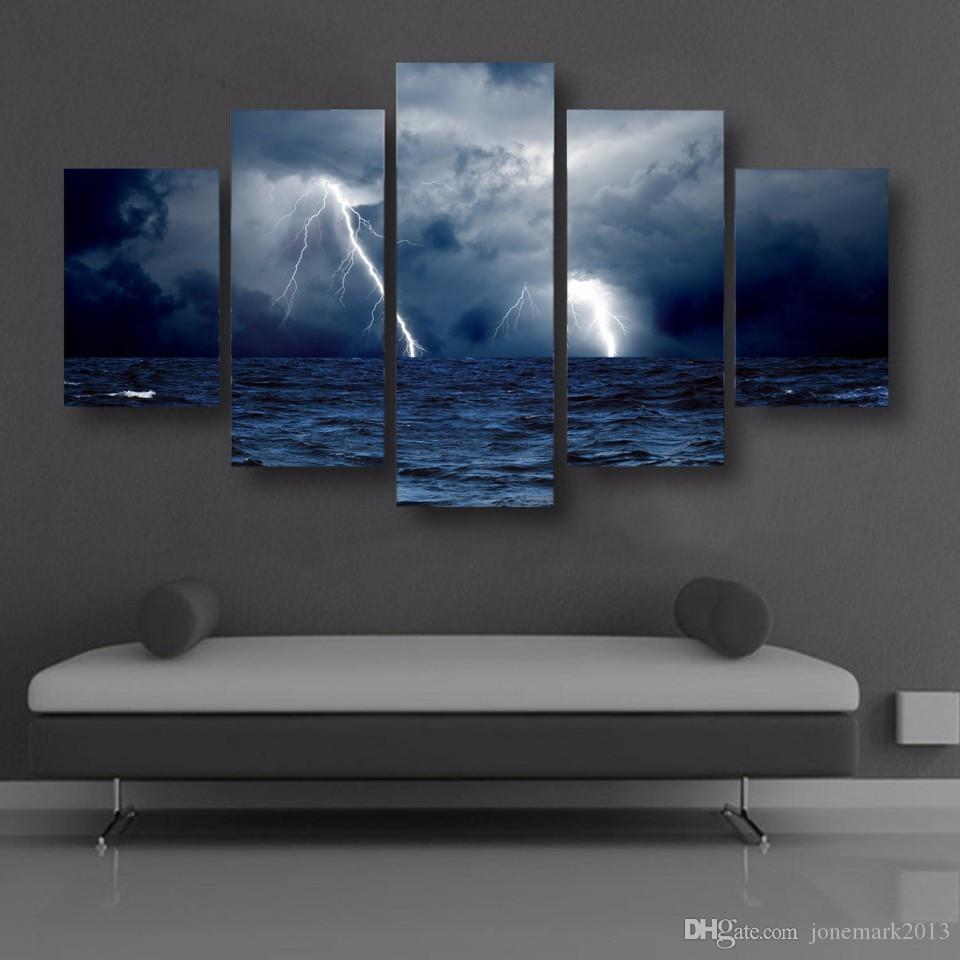 5 Pz / set Incorniciato HD Stampato Nuvole Onde Sea Storm Lightning Immagine Wall Art Canvas Print Decor Poster Canvas Oil Painting