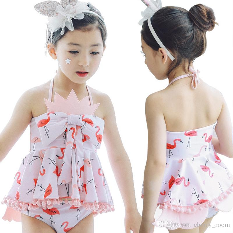 871def2684b71 2019 Girls Swimming Set Cartoon Flamingo Swimwear Suits Girl Sun Bathing  Spring Swim Sets Bow Tank Tops Underpant Shorts With Swimming Caps A6945  From ...