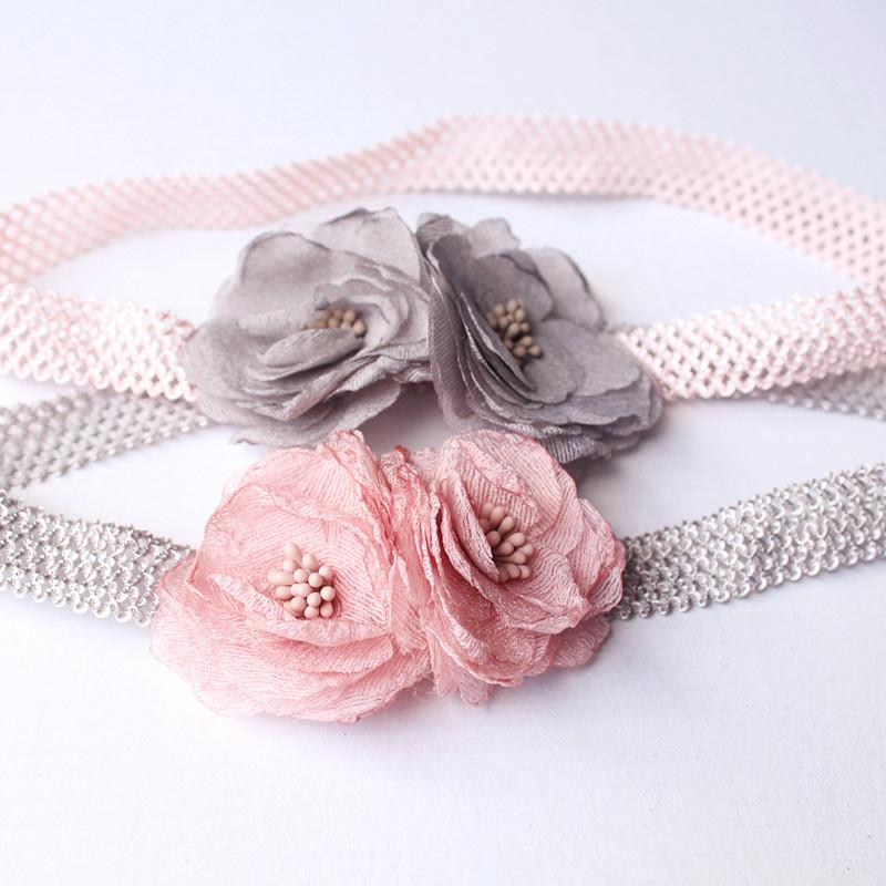 Mother & Kids 2pcs Korean Style White Big Flower Bow Double Elastics For Bracelet Bands Hair Accessories With Pearl Fashion Trendy Headwear
