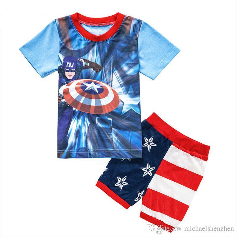 Meninos do homem aranha pijamas ternos 13 projeto crianças avengers capitão américa homem de ferro de manga curta t-shirt + shorts terno b001