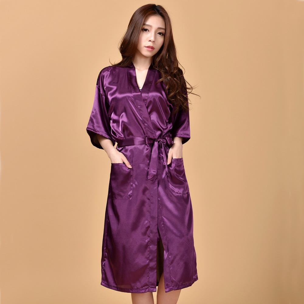 4381b8cfd51d 2019 Wholesale Purple Plus Size XXXL Sexy Women Robe Sleepwear Summer  Casual Nightgowns Chinese Lady Rayon Silk Bathrobe Pijamas Mujer NR030 From  Peay