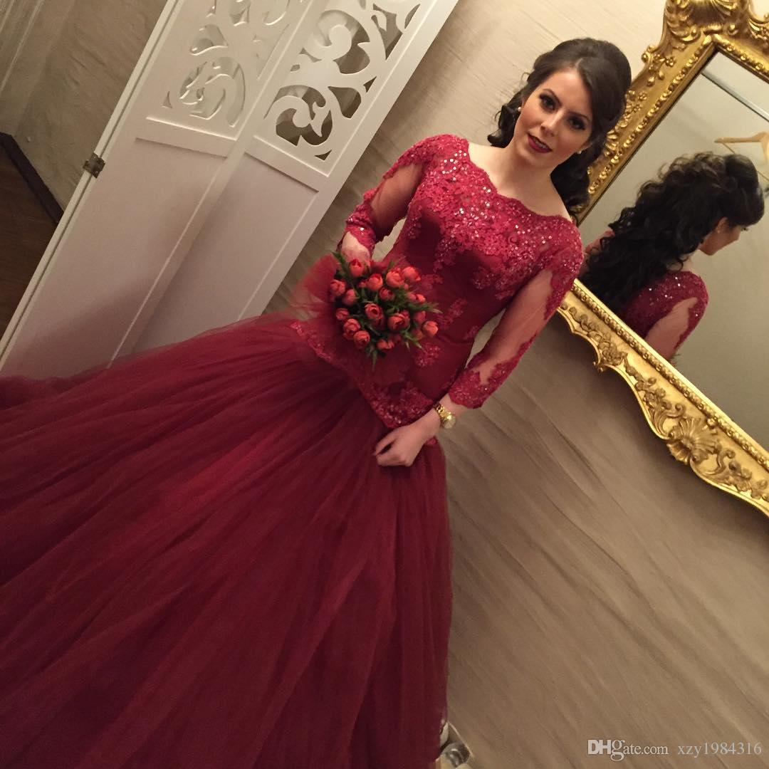 Dark Red Tulle Wedding Dresses Boat Neck Sequins Lace Applique 3/4 Long Sleeves Mermaid Bridal Dresses Elegant TuTu Sexy Long Wedding Gowns