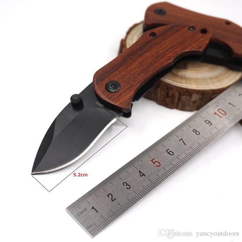 Sıcak DA33 Küçük Katlanır Bıçak Kamp Cep Bıçak 440C Blade Ahşap Saplı Açık Taktik Survival Bıçaklar En Iyi Dişli EDC Araçları