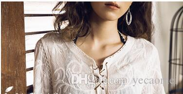 Женщины девушки мода с длинным рукавом белый чистый хлопок пены аксессуар вернуться к древним случайный досуг