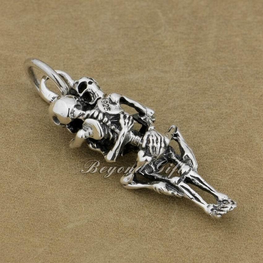 LINSION 925 Sterling Silver Forever Love Sex Skull Fashion Colgante 9R006 JP