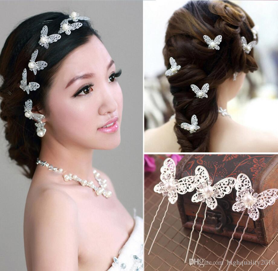 Butterfly hair accessories for weddings uk - Charming Wedding Hair Piece Butterfly Bridal Pearl Rhinestone Hair Pin Hair Clip Head Piece Party Bridal Hair Pieces Vintage Bridal Hair Pins Uk From