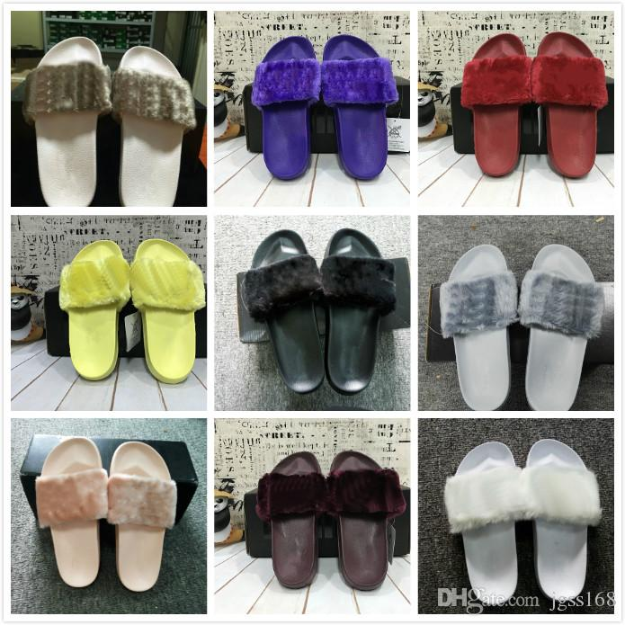 e6046dbd43d0e Rihanna Shoes Women Slippers Indoor Sandals Girls Fashion Scuffs Yellow  Purple Red Wine Red Grey Pink Black White Girls Boots Wedges Shoes From  Jgss168