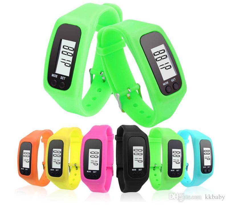 Moda Pedometre Kalori Karikatür Spor Adım Saatler Erkekler Kadınlar Için Silikon LED Dijital İzle Spor Açık Kol Saati Relogio Masculino