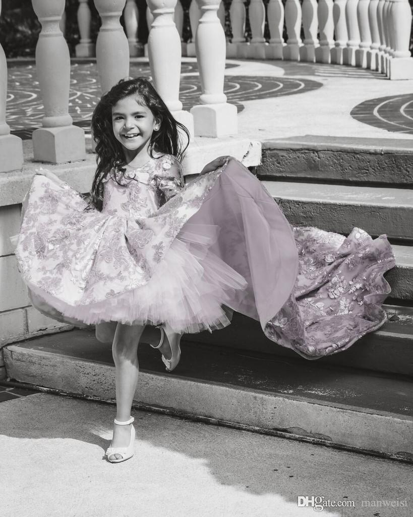 Pink Long Sleeve Flower Girls' Dresses Special Occasion Lace Applique Kids Formal Wear For Weddings High Low Little Girl's Pageant Dress