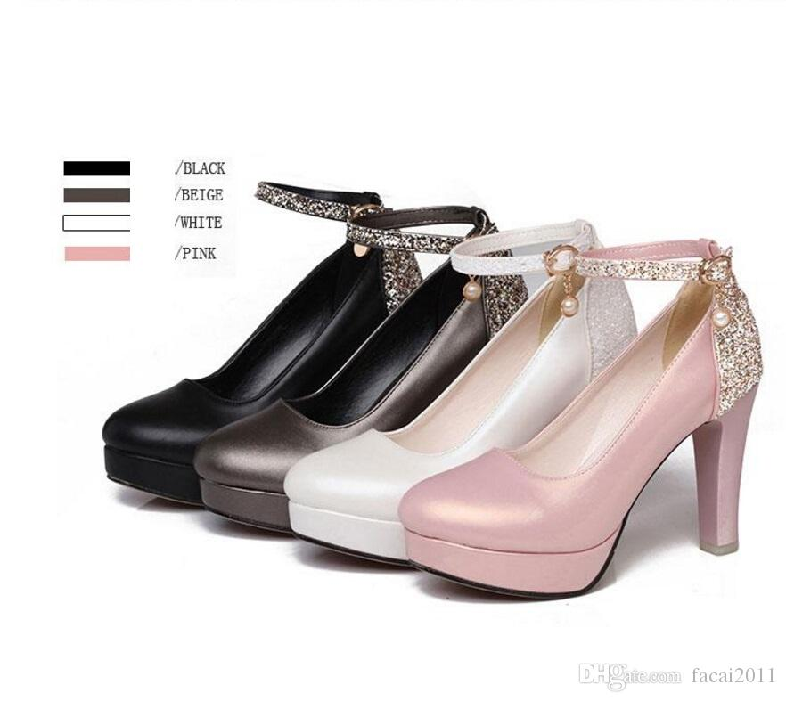 весна 2017 новое слово пряжка сладкий высокие каблуки обувь Женская толстые с круглой головкой для женская обувь легче сексуальная водонепроницаемый