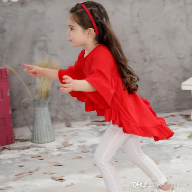 2017 vestiti delle neonate vestiti leggiadramente bianchi del cotone del pannello esterno dei bambini del manicotto del manicotto del chiarore di principessa del vestito da estate del vestito bianco libero di trasporto