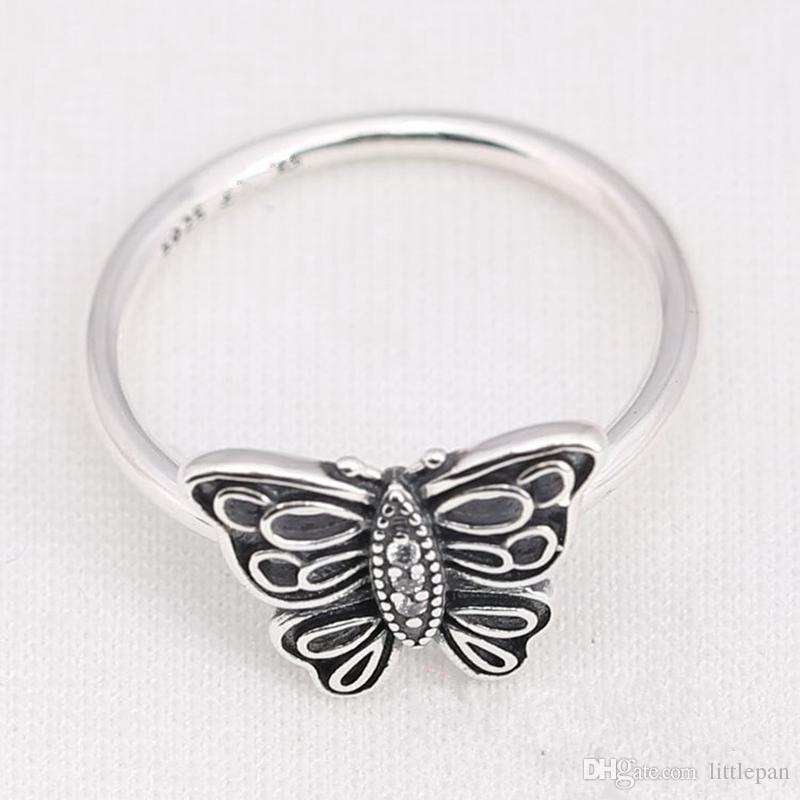 Ale Schmetterling Retro Charm Ring Größe markiert atemberaubende CZ massivem 925 Sterling Silber europäischen Stil Schmuckzubehör für Pandora