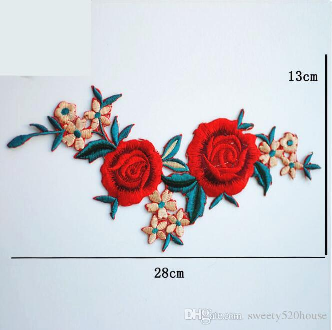 Flowers Embroidered Patch Sticker for Clothing Jacket Jeans Lace applique DIY Clothes Decorations Fabric Patches