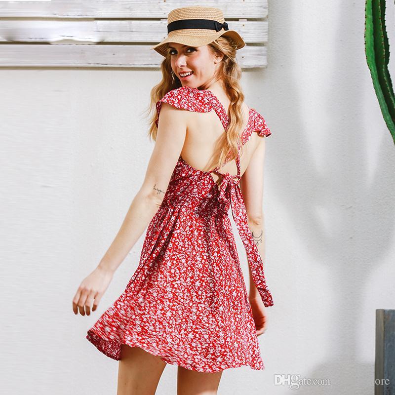 Compre Vestido Corto Estampado Floral Azul Marino Sin Respaldo ...