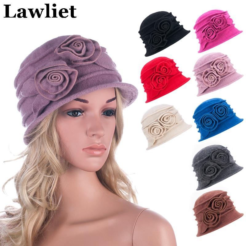 Wholesale-Elegant Vintage Style Wool Hats Winter Women Beanie Hat Ladies Warm  Cap Floral Beret Hat for Women Cloche Female Casual Hat A287 Beret Hats for  ... c0468b3dc219