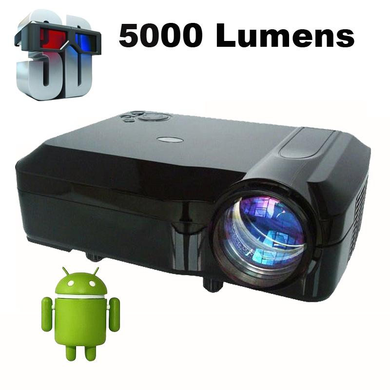 Wholesale-Cheaper External Android 4.4.4 Smart WiFi 5000Lumens Full HD 1080P multimedia LED 3D Projector proyector beamer for home theater