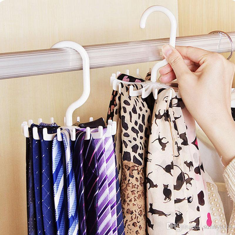 Rotating Tie Rack Organizer Hanger Closet Organizer Hanging Storage Scarf Rack Tie Rack Holds 20 Neck Ties Hook ZJ0108