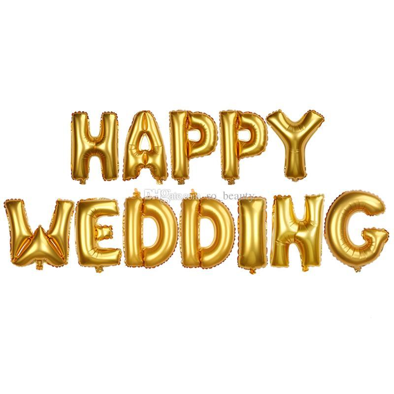/ conjunto feliz casamento cute folha de hélio letras balão decoração aniversário decoração cor ouro 16 polegadas