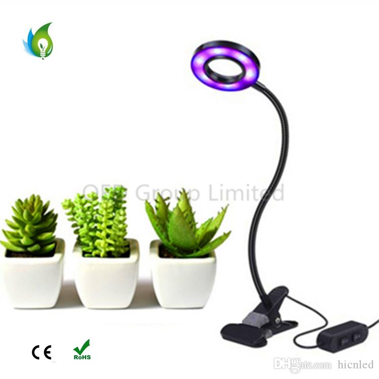 10w Dimmable Led Plant Grow Light With Spring Clamp Office Indoor ...