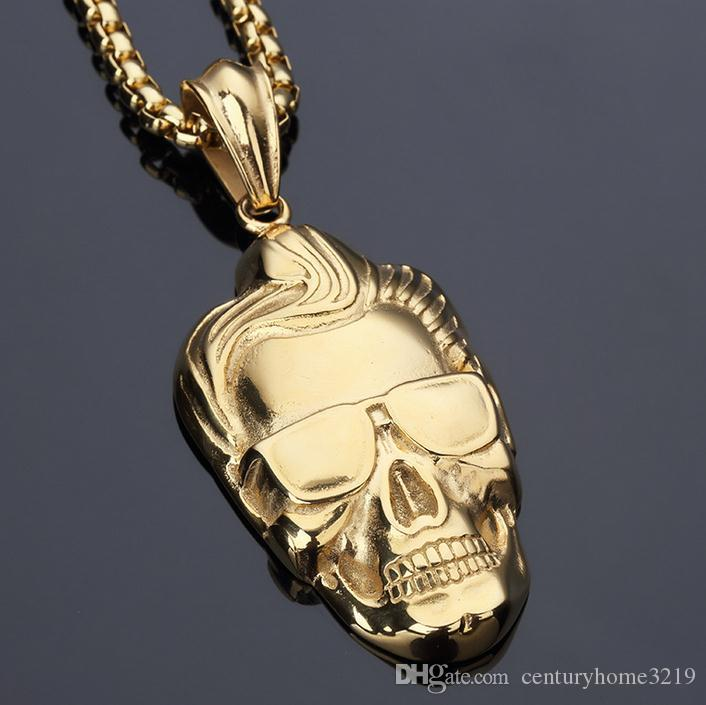 Titan Stahl Knochen Skelett Mann Kopf Halskette Anhänger Halskette