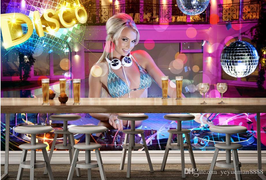 사용자 정의 3D 벽지 거실 나이트 클럽 섹시한 DJ 아름다움 3D 월페이퍼 벽 럭셔리 골드 벽지