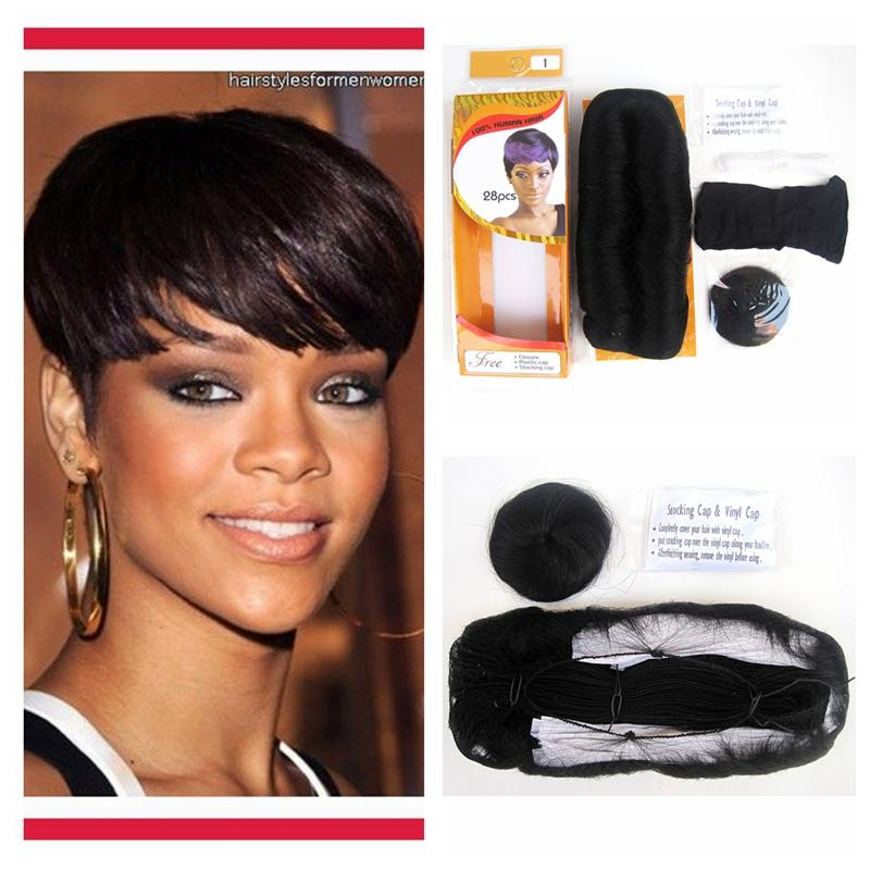 Pack For Full Head Human Short Hair Bump Weave Virgin Brazilian Hair