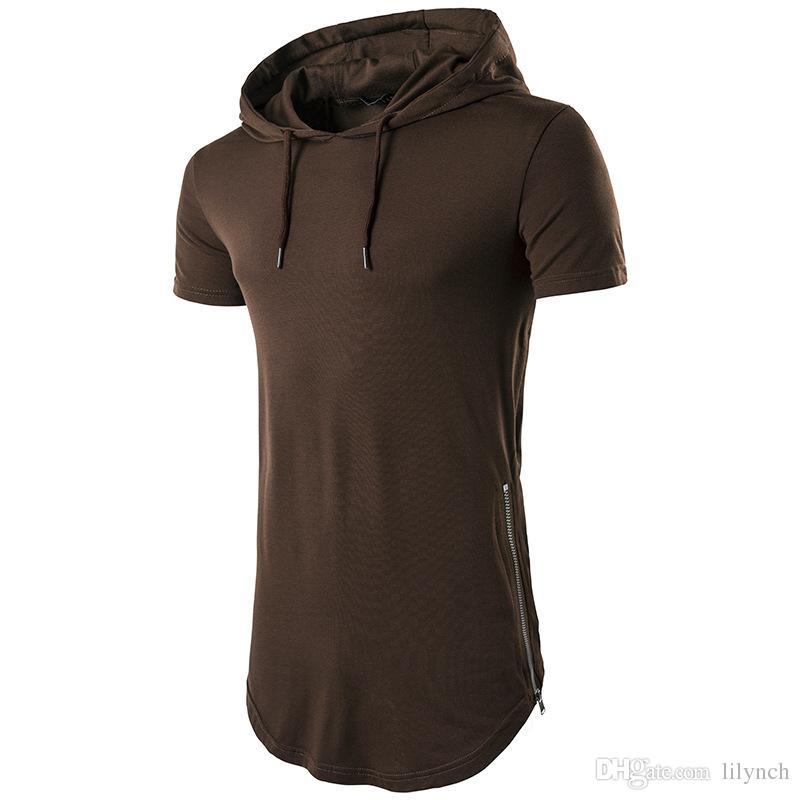 Top t-shirt 2017 vendita calda cerniera a maniche lunghe con cappuccio da uomo estate T-shirt da uomo manica corta T-shirt girocollo uomo Casual T-shirt