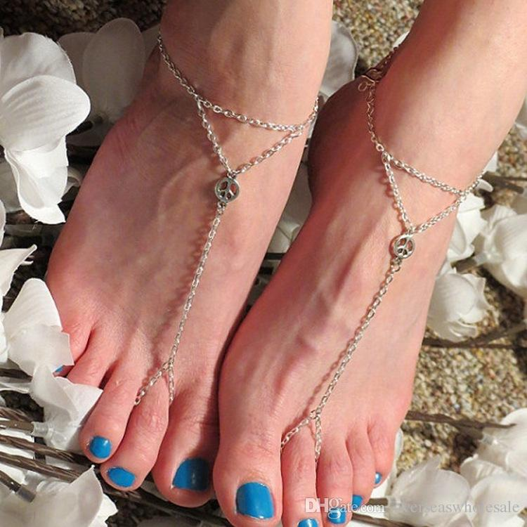 Sexy Peace symbol Barefoot Sandals Stretch Adjustable Slave Anklet Chain Summer Beach Wedding Dancing Date Party Anklet Jewelry
