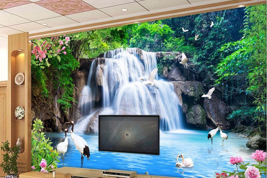 papel pintado decorativo Crane Peony waterfall water scenery papel pintado