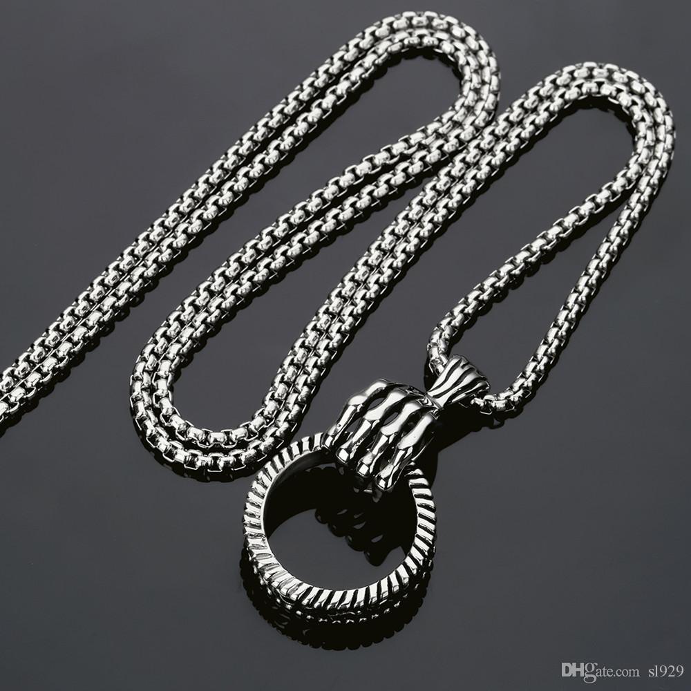 Europe et les États-Unis populaire nouveau squelette main Hoop Hip Hop collier pendentif HIPHOP bijoux en acier inoxydable hommes et femmes