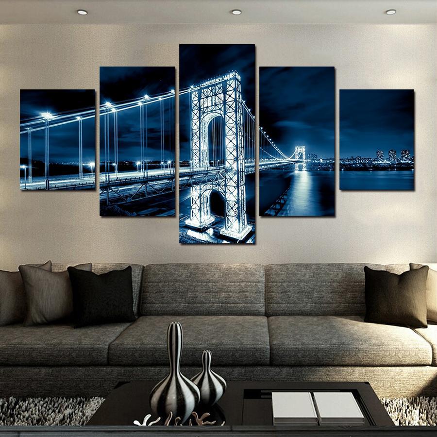 2018 No Frames Large Hd Coastal Bridge Canvas Print Painting For ...