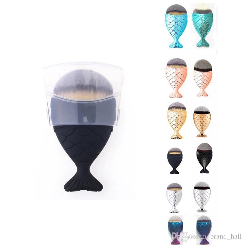 Mermaid balık oval fırçalar kapak Vakıf Fırçalar Yüz Altın Kozmetik Allık Pudra Makyaj Fırçalar Setleri 6 renkler Ücretsiz DHL Kargo