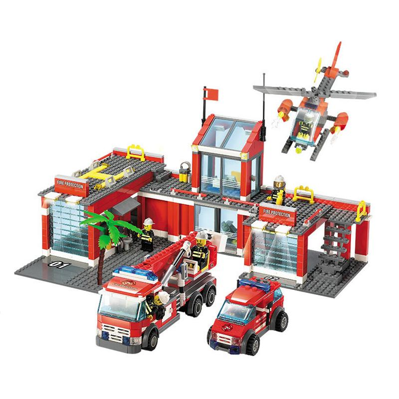 New City Fire Station 774pcs/set Building Blocks DIY Educational Bricks  Kids Toys Compatible With Legoe Best Kids Xmas Gifts
