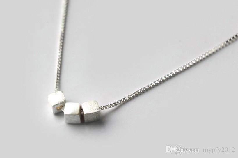 925 Sterling Silver Colliers 3 Pièces Carré Colliers En Argent Bijoux Collier Ras Du Cou Colliers Pour Femmes Cadeaux AL