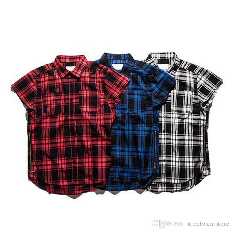 Red Plaid Shirts Men New Fashion Justin Bieber Swag Hip hop Streetwear Side Zippers Design Casual Loose Cotton Shirts XXL
