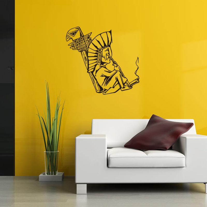 57x61.5cm Smoking Indian Peel And Stick Vinyl Wall Stickers ...