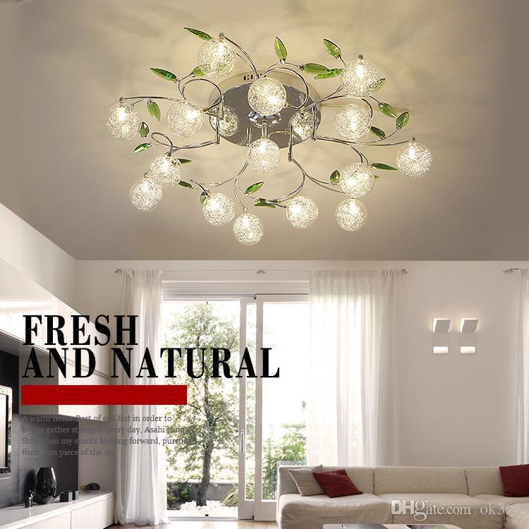 Nice Ac110v 220v Modern Art Design Led Chandelier Lustre Aluminum Wire Lamp Chandeliers Crystal Green Leaf Decor Ceiling Mount Lights Ceiling Lights & Fans