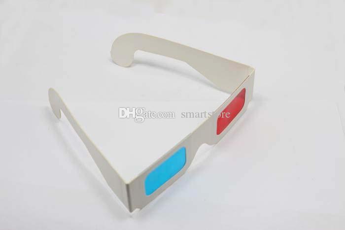 DHL LIBERA il trasporto 1500 pz / lotto Rosso Ciano carta di carta blu 3d-D anaglifi 3D Occhiali Bianco Trasporto libero 0001