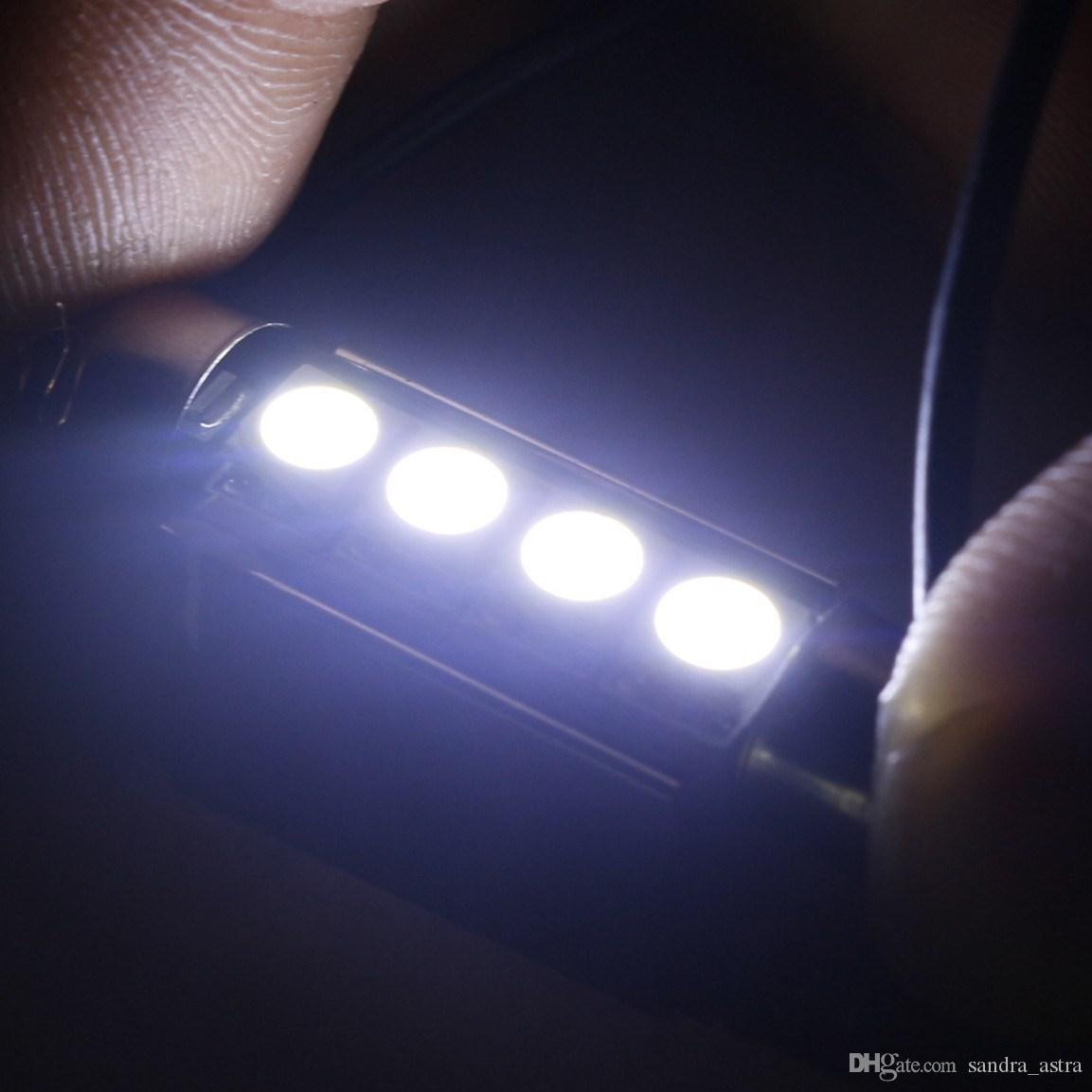 100 stücke neueste 31mm39mm 41mm C5W 4SMD 5050 LED 4SMD Weiß / Blau / rot CANBUS Error Free Auto Kennzeichenbeleuchtung Lampe haube Girlande Lampen 12 V