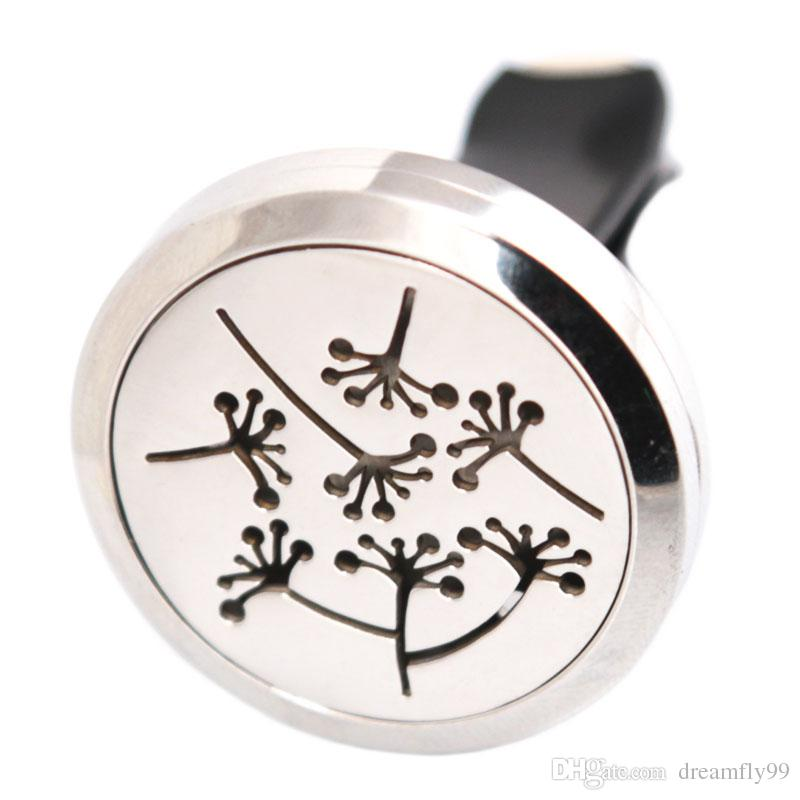Joyería de plata Dandelion30mm Difusor de acero inoxidable 316 Colgante Collar Coche Aroma Locket Aceite esencial Difusor de coche Medallones Pads gratis