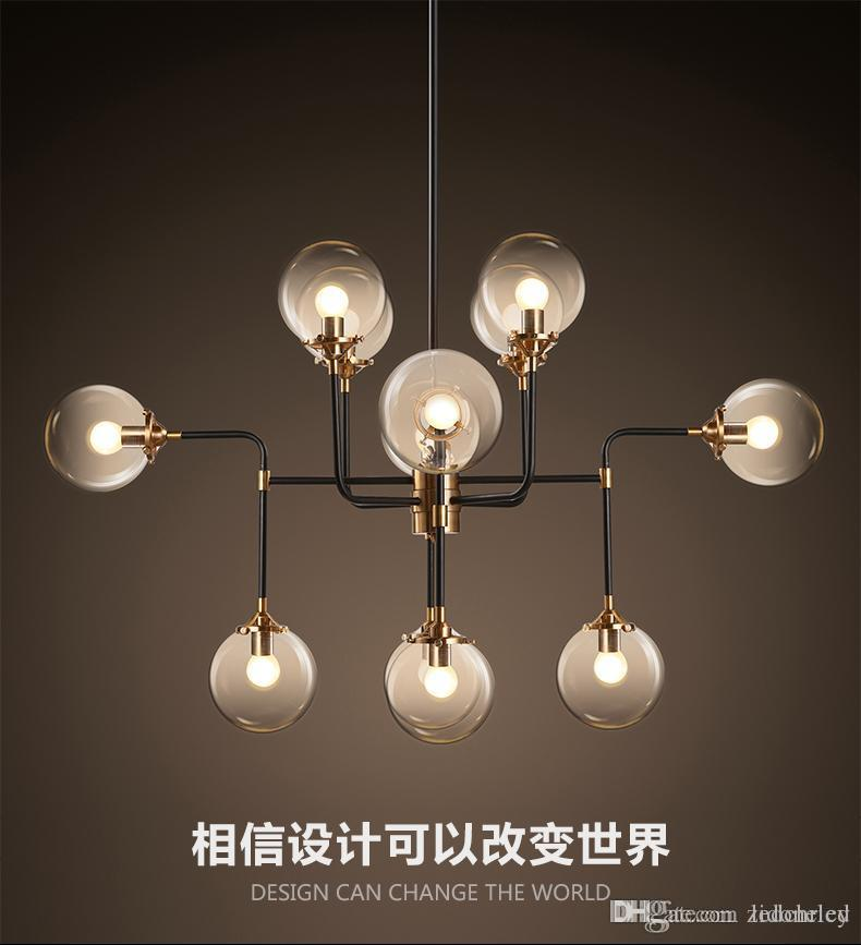 North Europe Led Modo Pendant Light Globe Art Glass Chandelier Dna ...