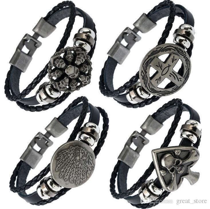 Brand new Buttoned braided leather bracelet skull leather necklace FB423 mix order 20 pieces a lot Slap & Snap Bracelets